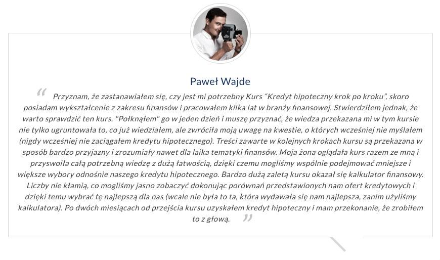 opinia okursie Kredyt Hipoteczny Krok poKroku Paweł Wajde