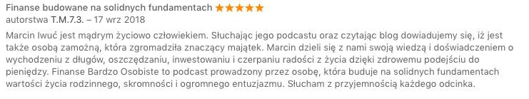 podcast Finanse Bardzo Osobiste - opinia tm73