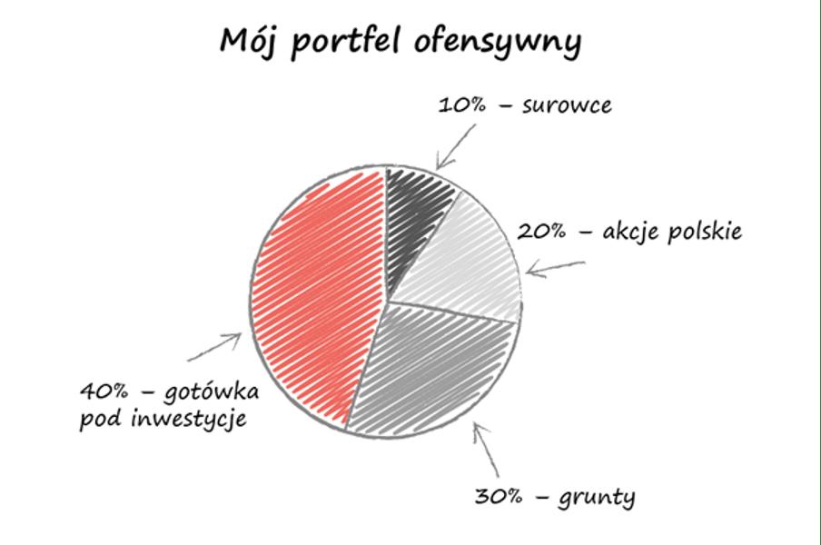 Wykres kołowy przedstawiający portfel inwestycyjny ofensywny Marcina Iwucia