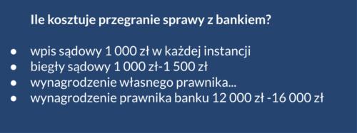 Koszty przegranej sprawy ws. kredytu frankowego