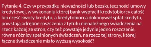 Frankowicze, pytanie 4 doSądu Najwyższego ws. kredytów CHF