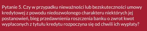 Frankowicze, pytanie 5 doSądu Najwyższego ws. kredytów wefrankach